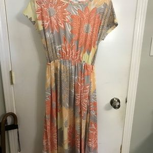 Orange, gray, yellow and white dress